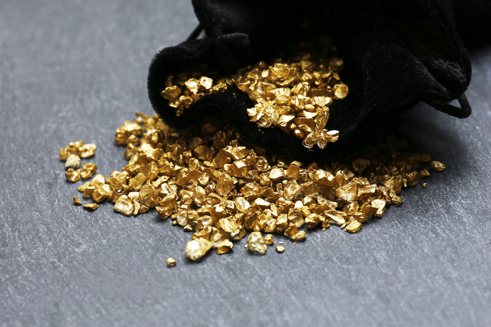 Gold nuggets in a pouch