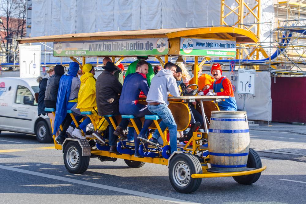 Moving beer cart in Berlin.