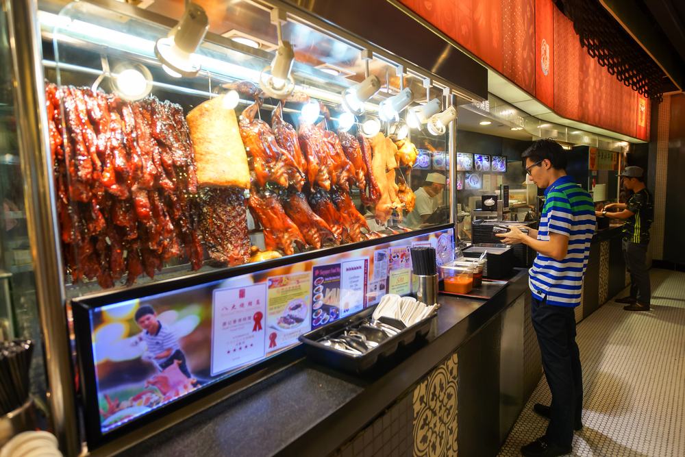 Roast meat stall in Singapore