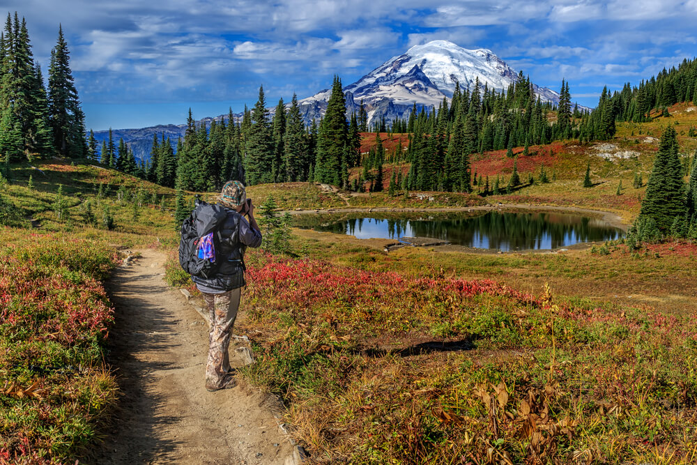 A hiker taking a picture of Mt Rainier