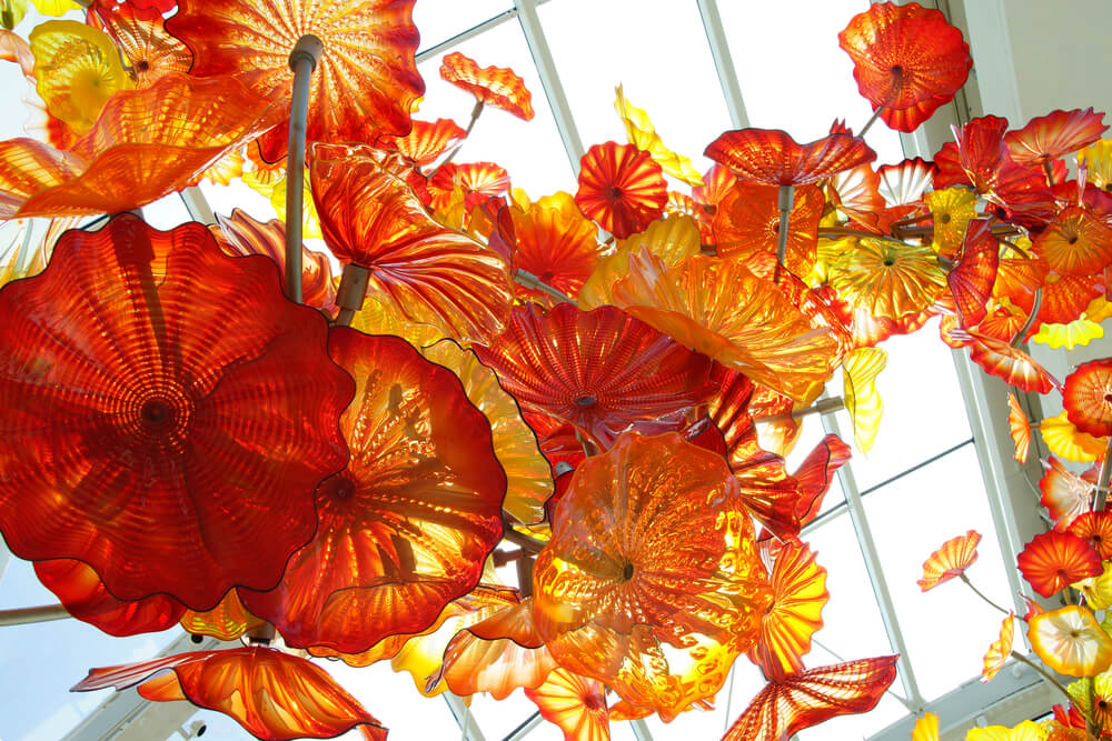 Orange glass flowers