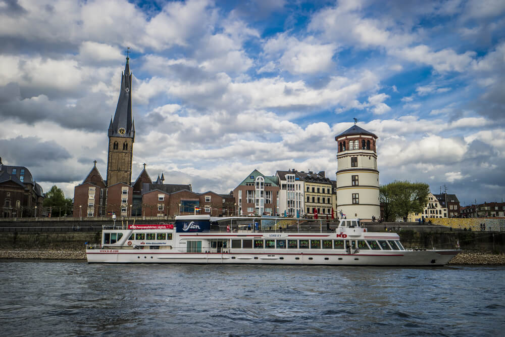 Boat along Rhine River in Dusseldorf, Germany