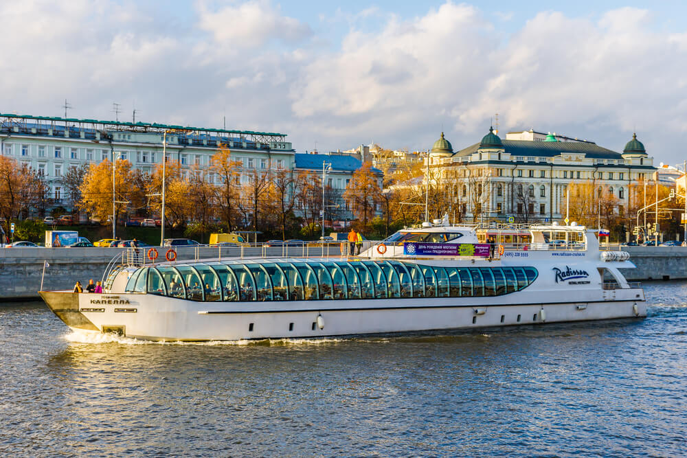 Radisson Cruise Yacht along river in Moscow, Russia