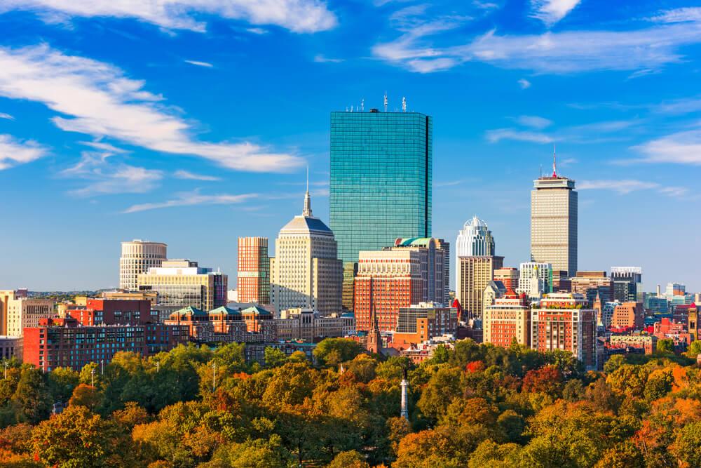 Boston skyline overlooking Boston Common