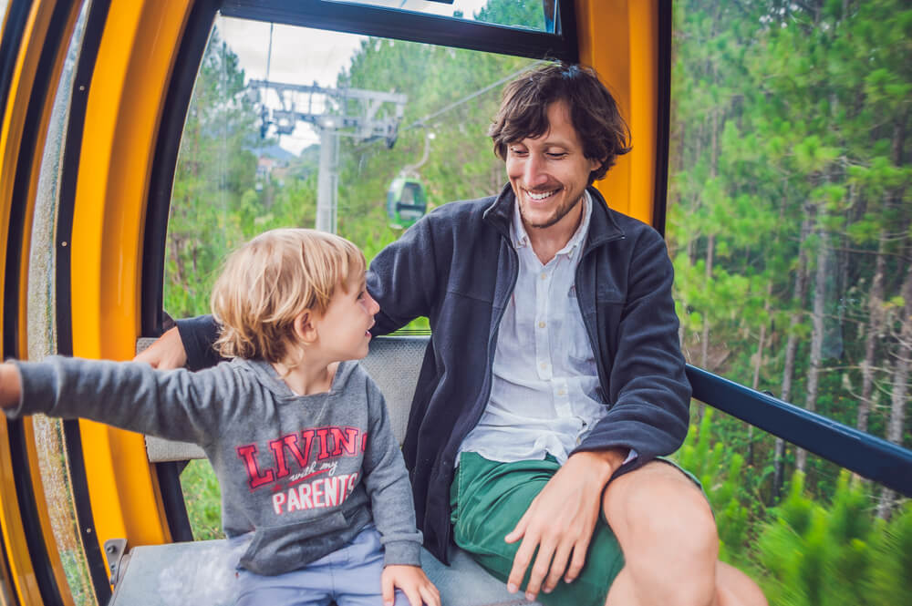 Father and son on a cable car