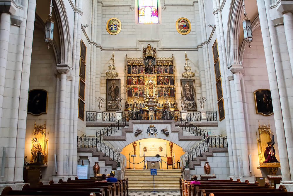 Main Altar of Almudena Virgin in Almudena Cathedral, Madrid, Spain