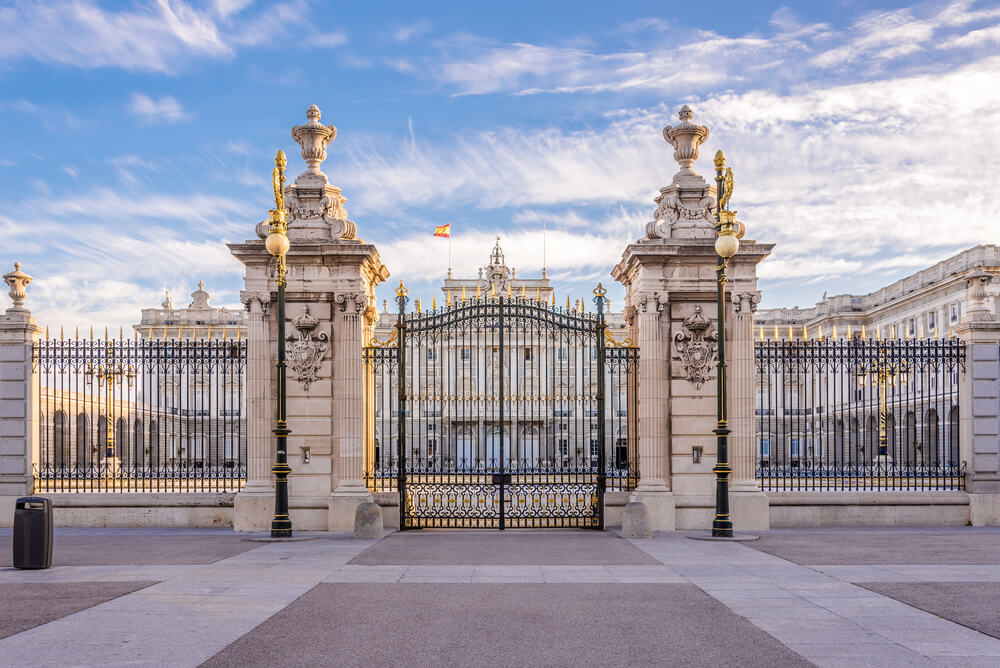 The front gate of the Royal Palace of Madrid, Spain