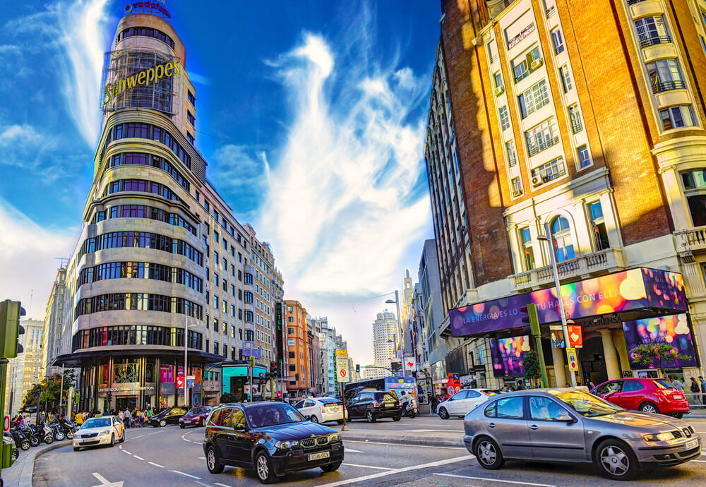 View of Gran Via in Madrid, Spain