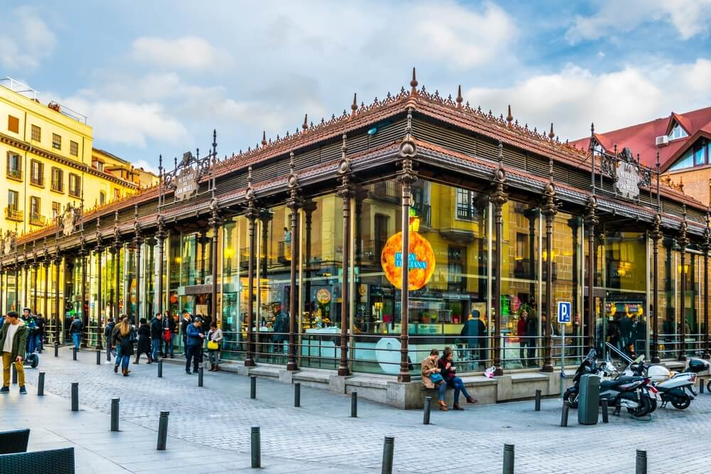 Exterior of Mercado San Miguel in Madrid, Spain